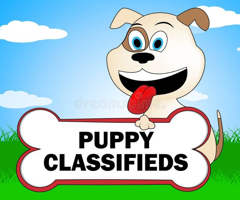 Le chiot Classifieds indique la canine et les canines d'animaux familiers illustration libre de droits