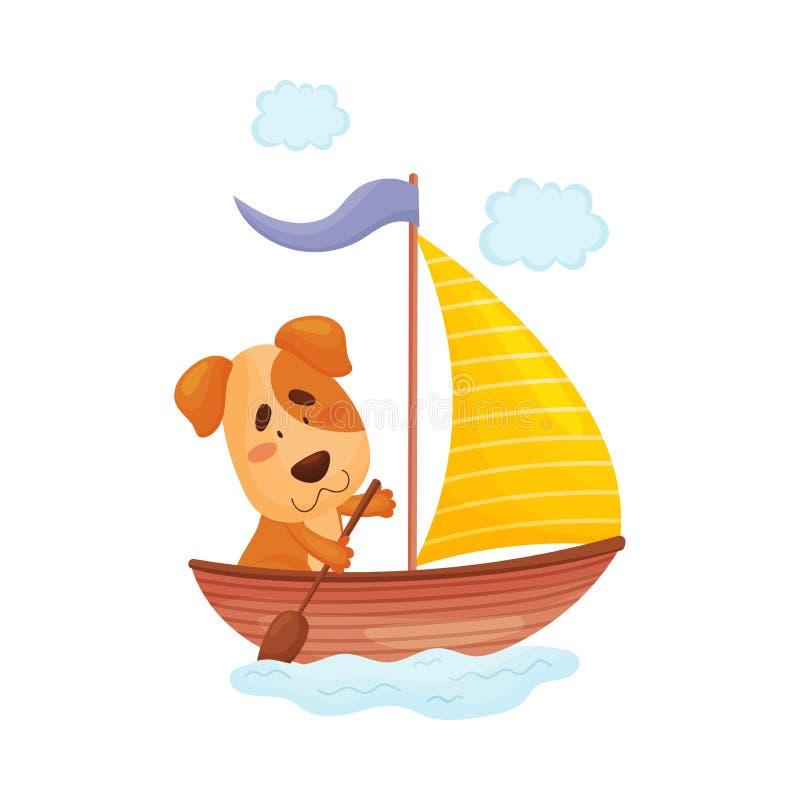 Le chiot mignon avec une palette nage dans un bateau Illustration de vecteur sur le fond blanc illustration stock