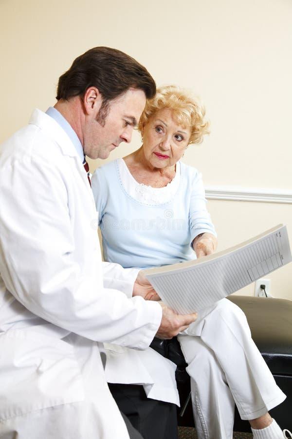 Le chiroprakteur observe des antécédents médicaux photo libre de droits