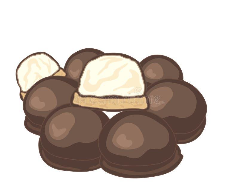 Le chocolat a couvert des guimauves illustration de vecteur