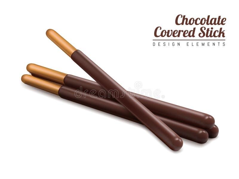 Le chocolat a couvert l'élément de bâton illustration stock
