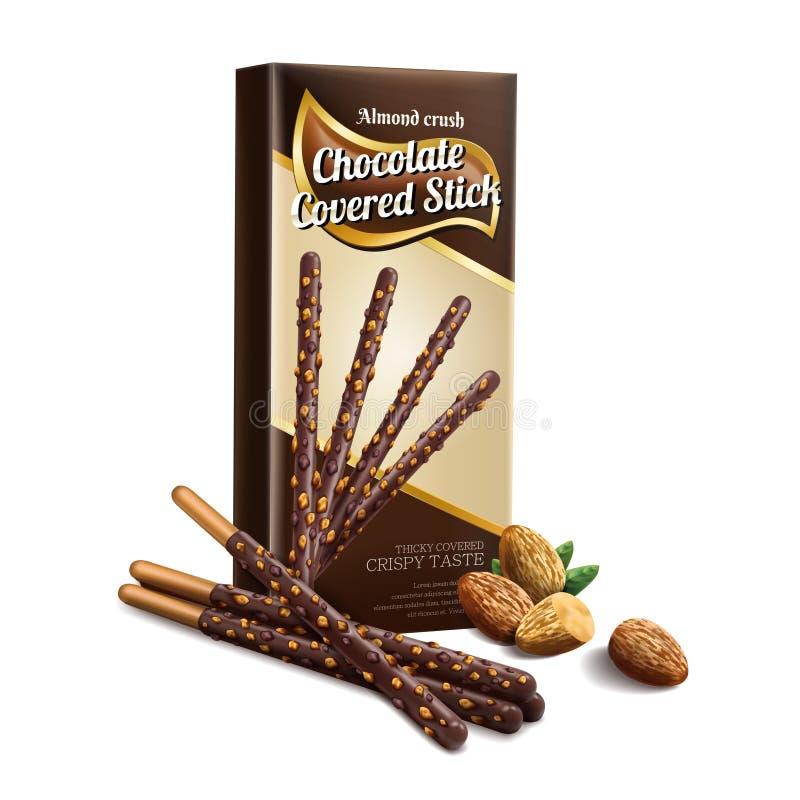 Le chocolat a couvert l'élément de bâton illustration de vecteur