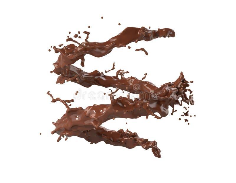 Le chocolat d'éclaboussure a isolé 3d le rendu - illustration illustration de vecteur