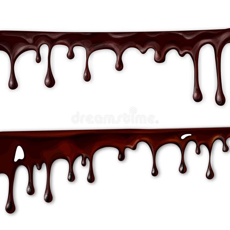 le chocolat entrant, dans le mouvement, des baisses de chocolat s'égouttent, illustration libre de droits