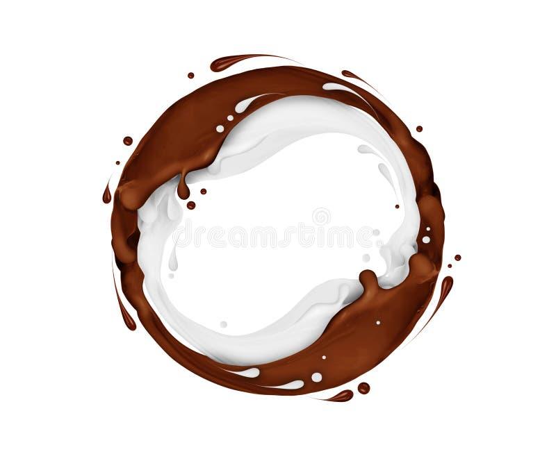 Le chocolat et le lait éclabousse dans un mouvement circulaire illustration de vecteur