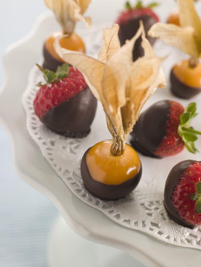 Le chocolat a plongé des fruits images stock