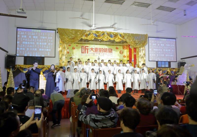 Le choeur chantant à l'église de zhushutang, adobe RVB images stock