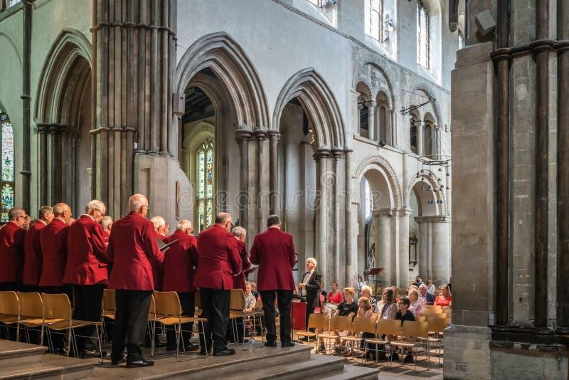 Le choeur des hommes exécutant dans une cathédrale images libres de droits