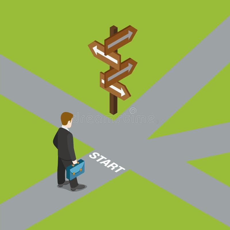 Le choix de dilemme d'affaires choisissent la manière choisissent le vecteur isométrique plat illustration libre de droits