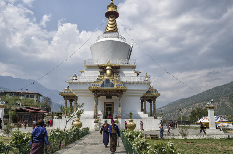 Le Chorten commémoratif national situé à Thimphou, la capitale du Bhutan image libre de droits