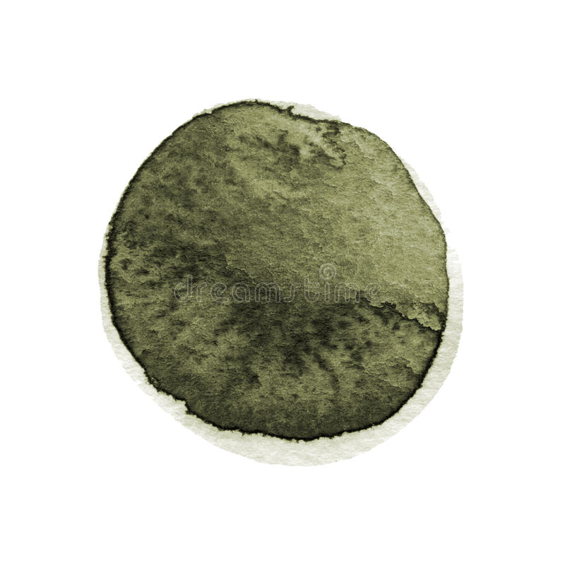 Le chou frisé et l'aquarelle ronde vert-foncé balayent la course d'isolement sur le fond blanc L'aquarelle souille la texture Cir illustration stock