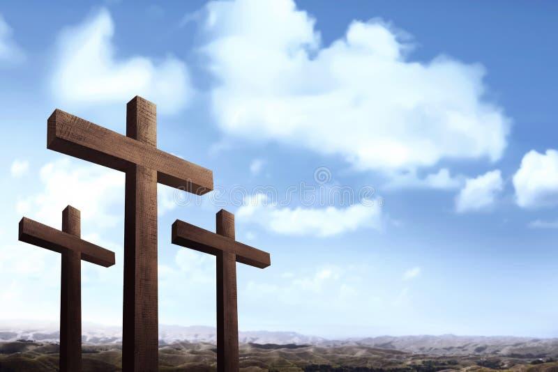Le chrétien croisent plus de le fond de ciel bleu photo libre de droits