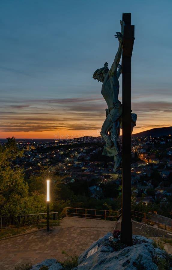 Le Christ au-dessus de la ville, Pécs, Hongrie images stock
