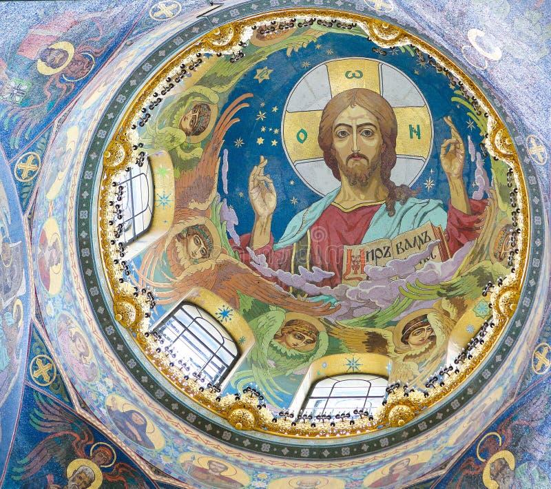 Le Christ Pantocrator, mosaïque dans l'église du sauveur, St Petersbur photo libre de droits