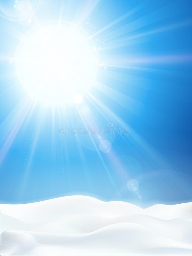 Le ciel bleu clair lumineux d'hiver avec le soleil et la neige aménagent en parc illustration stock