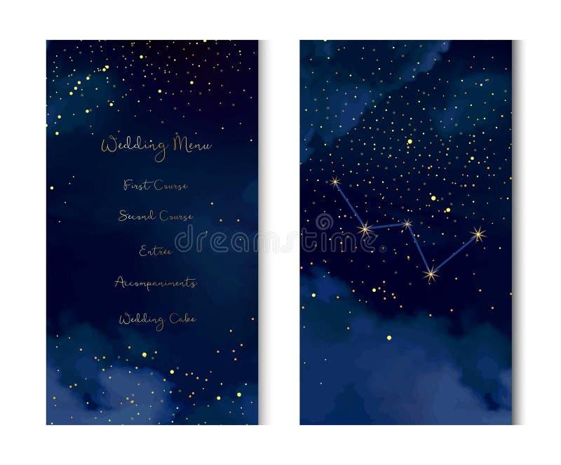 Le ciel bleu-foncé de nuit magique avec le scintillement tient le premier rôle le vecteur b vertical illustration de vecteur