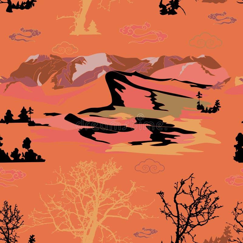 Le ciel d'arbres de pins de montagne aménage l'illustration en parc tirée par la main de vecteur illustration libre de droits