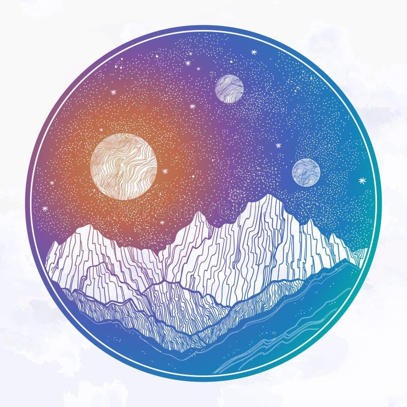 Le ciel nocturne avec des montagnes aménagent en parc, planète, lune, éléments de nature Illustration d'isolement de vecteur de v illustration de vecteur