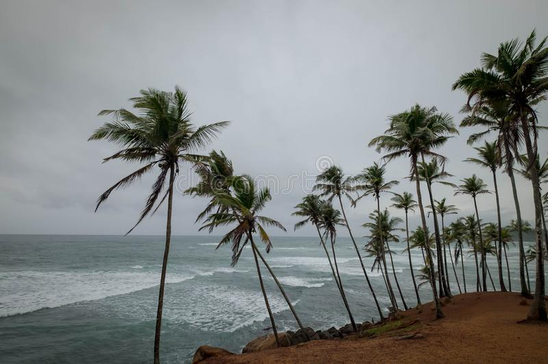 Le ciel nuageux sur la colline de Coconut, il est situé à Mirissa, Sri Lanka images stock