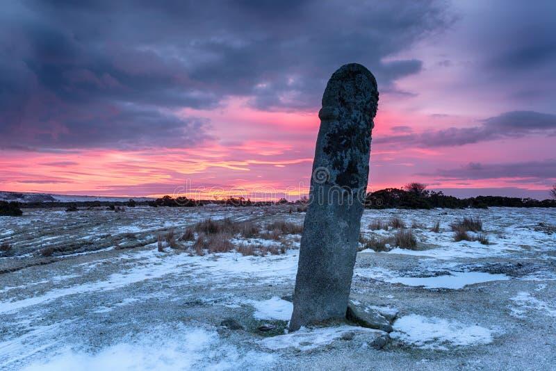 Le ciel rouge au-dessus de Bodmin amarrent photos libres de droits
