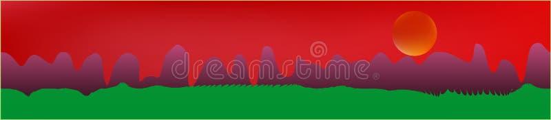 Le ciel rouge, et les montagnes aménagent en parc illustration libre de droits