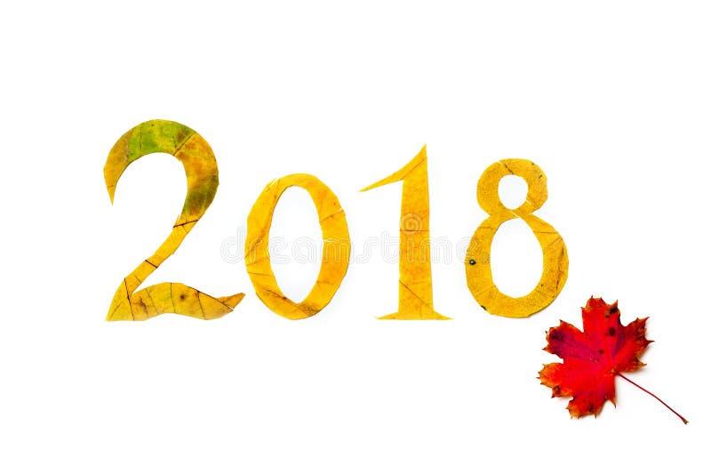 2018 le cifre hanno scolpito dalle foglie di acero gialle su fondo bianco fotografia stock