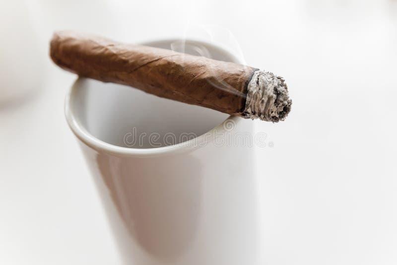 Le cigare fait main s'étend sur la tasse blanche image stock