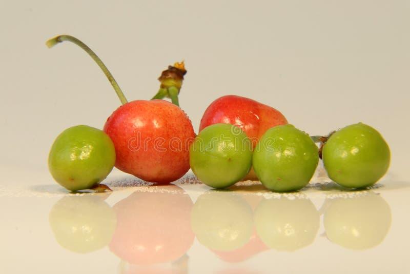 Le ciliege verdi con le ciliege mature ci mostrano l'estate e balzano nello stesso tempo fotografia stock libera da diritti