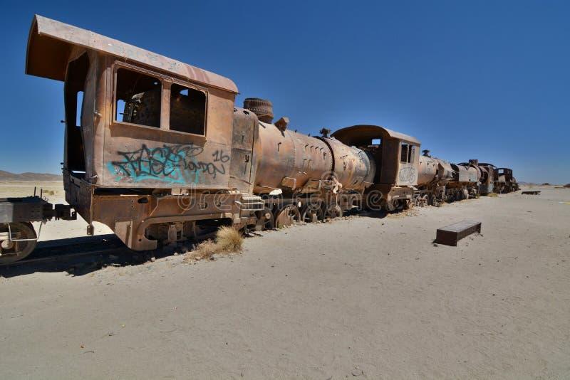 Le cimetière de train Uyuni Département de Potosà bolivia images stock