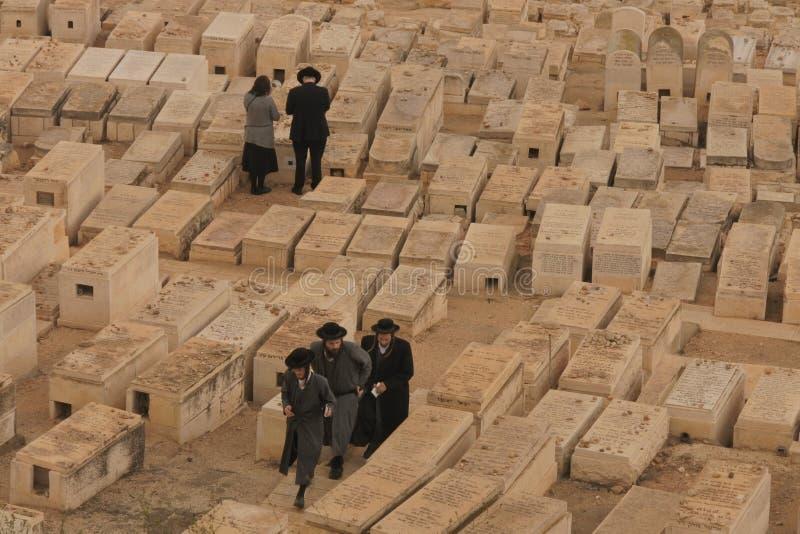 Le cimetière juif sur le mont des Oliviers image stock
