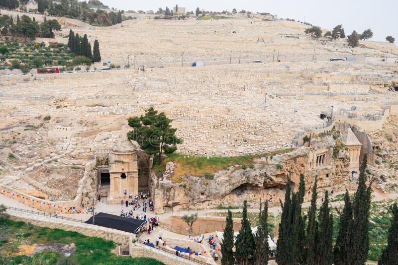 Le cimetière juif sur le mont des Oliviers, y compris la nécropole de Silwan est le cimetière le plus antique à Jérusalem images stock
