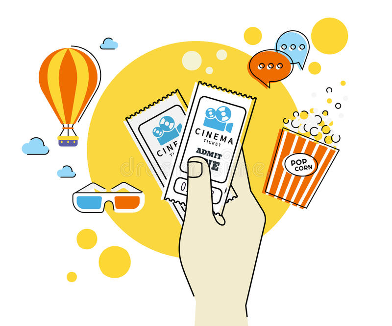 le cinéma étiquette deux illustration stock