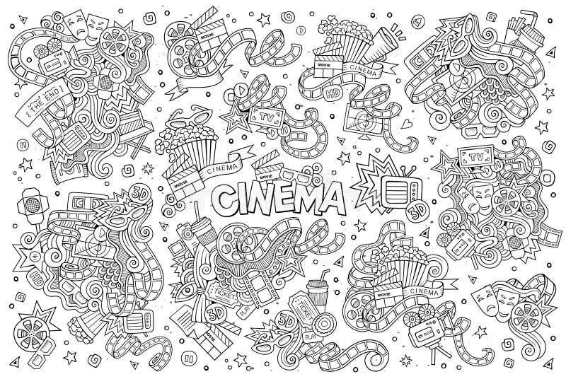 Le cinéma, film, film gribouille des symboles peu précis de vecteur illustration de vecteur
