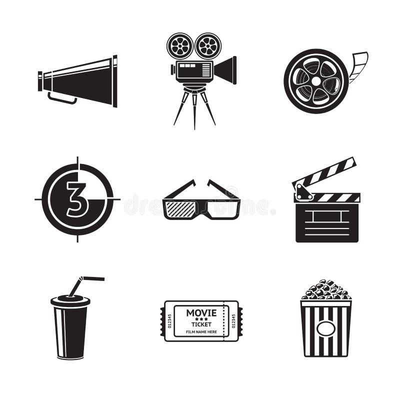 Le cinéma, icônes de film a placé avec - le projecteur, film illustration libre de droits
