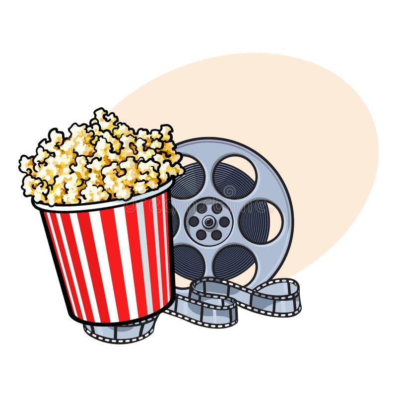 Le cinéma objecte - le seau de maïs éclaté et la rétro bobine de film de style illustration libre de droits