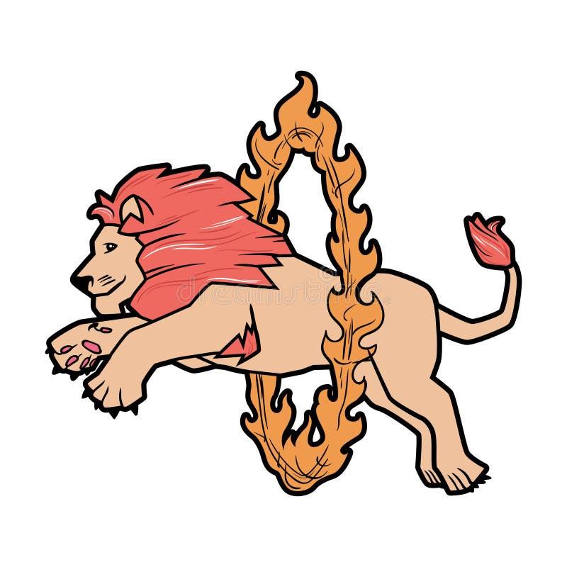 Le cirque a formé la représentation d'animaux sauvages d'isolement sur le blanc le lion saute par-dessus l'anneau dans le feu illustration libre de droits