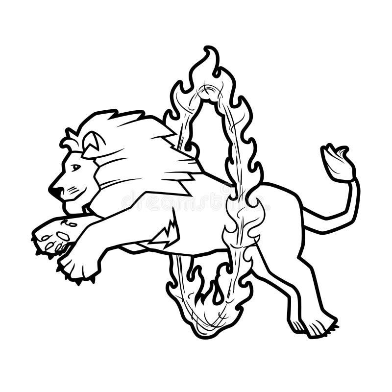 Le cirque a formé la représentation d'animaux sauvages d'isolement sur le blanc le lion saute par-dessus l'anneau dans le feu illustration stock