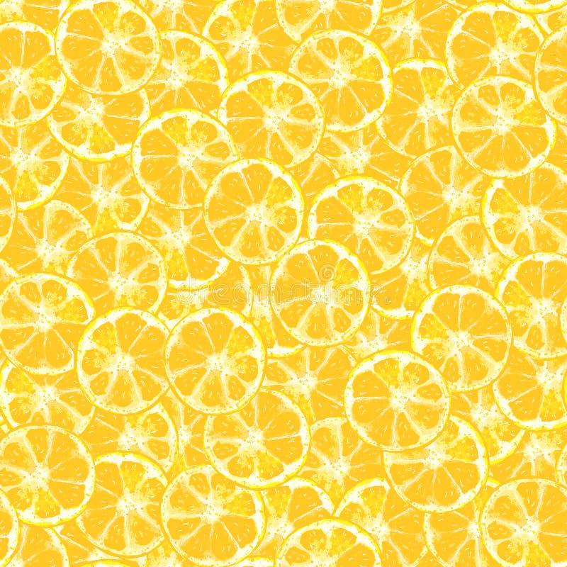 Le citron découpe le modèle en tranches sans couture jaune illustration de vecteur