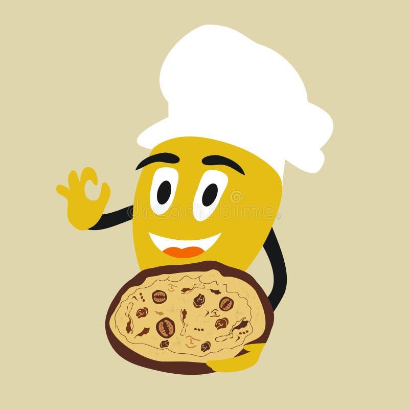Le citron mignon, jaune, mûr sert la pizza délicieuse avec des champignons illustration libre de droits