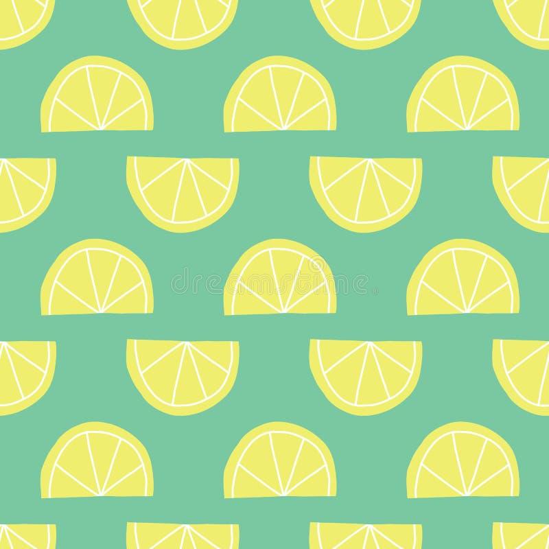 Le citron stylisé découpe le modèle en tranches sans couture de vecteur illustration libre de droits