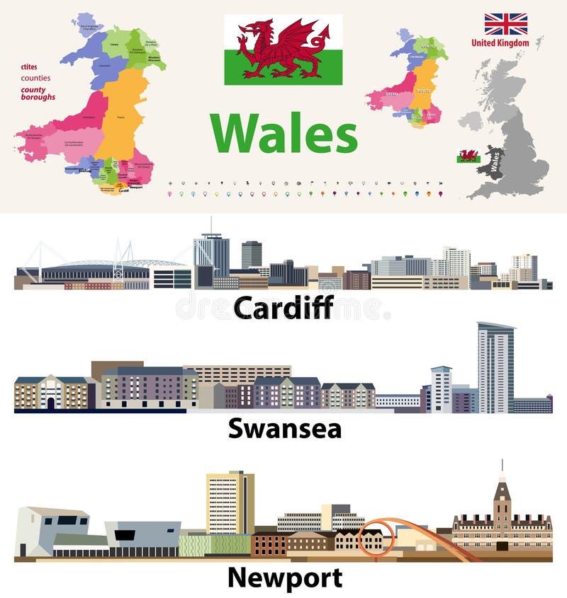 Le città di Galles, i paesi e le città del paese tracciano ed icone degli orizzonti delle più grandi città di Lingua gallese Tutt royalty illustrazione gratis