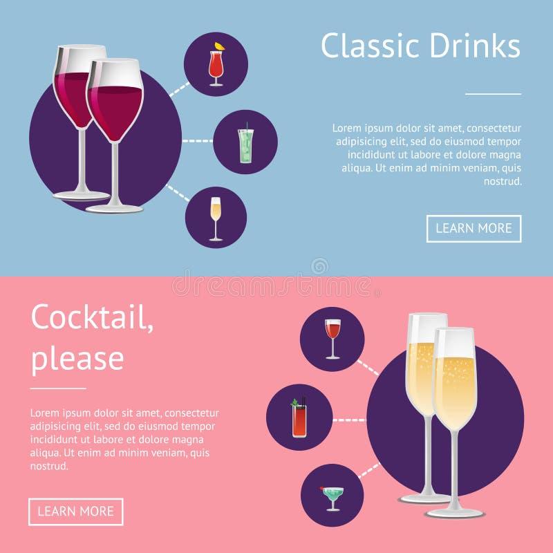 Les Boissons Satisfont L'affiche Avec Le Verre De Cocktail