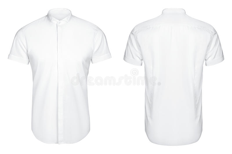 Le classique et la chemise blancs d'affaires, short ont gainé la chemise, fond blanc image libre de droits
