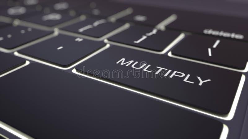 Le clavier d'ordinateur lumineux noir et multiplient la clé Rendu 3d conceptuel illustration libre de droits