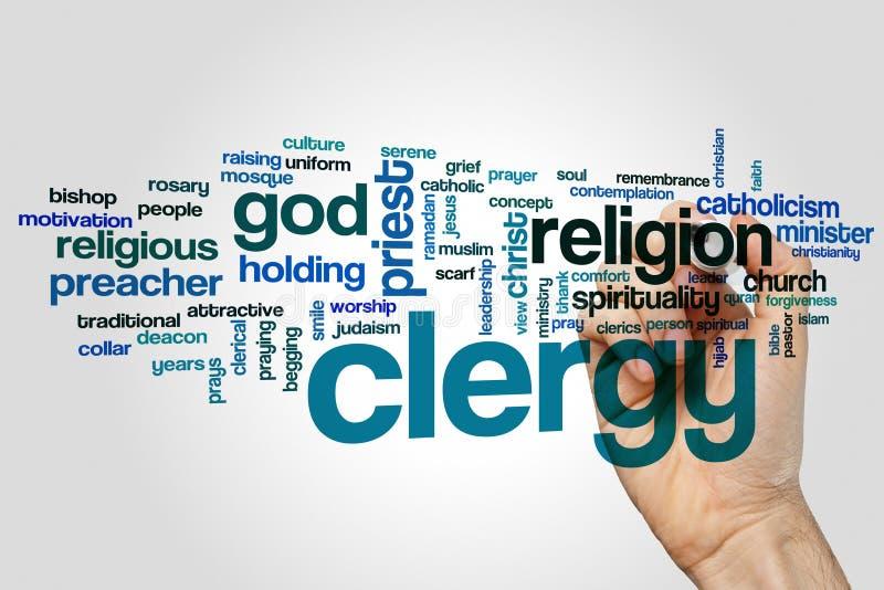 Le clergé expriment le concept de nuage sur le fond gris images libres de droits