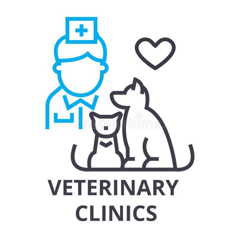 Le cliniche veterinarie assottigliano la linea l'icona, il segno, il simbolo, il illustation, il concetto lineare, vettore illustrazione di stock