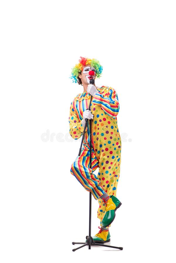 Le clown drôle d'isolement sur le fond blanc image libre de droits