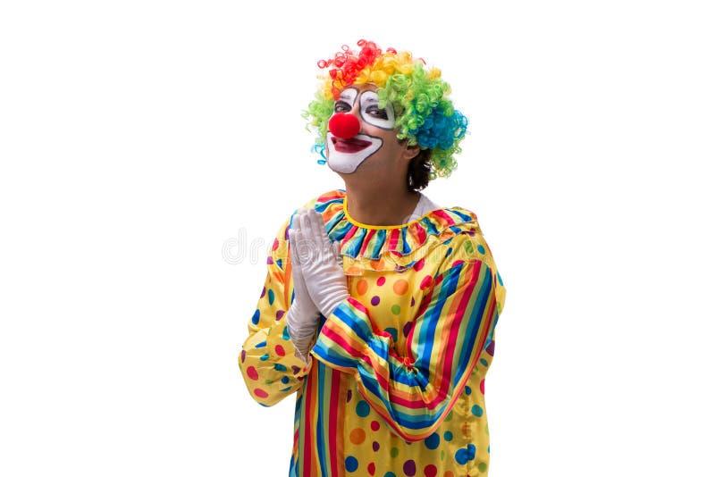 Le clown drôle d'isolement sur le fond blanc images libres de droits