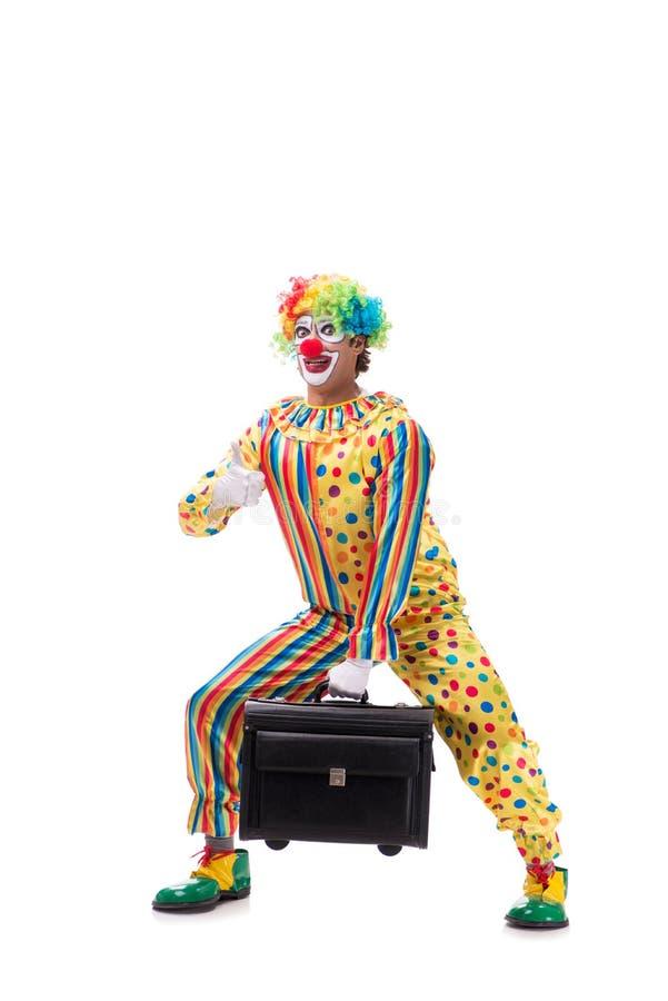 Le clown drôle sur le fond blanc photographie stock libre de droits