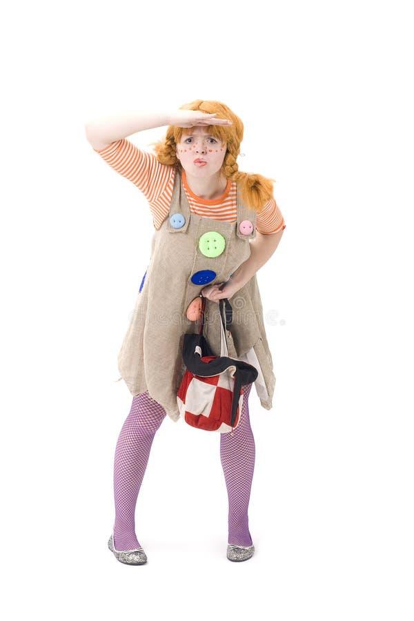 Le clown pose avec le sac III photo libre de droits